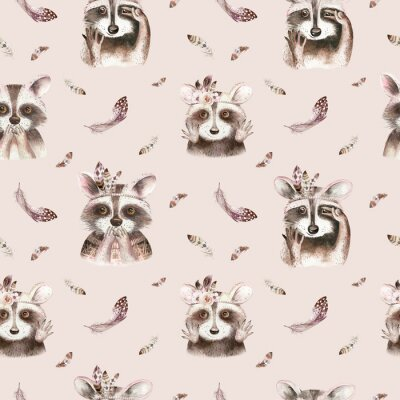 Fototapeta Watercolor boho floral raccoon seamless pattern with feather. bohemian natural background: leaves, feathers, flowers, Artistic decoration illustration. Weddign design, nursery illustration