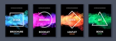 Fototapeta Watercolor booklet brochure colourful abstract layout cover design template bundle set with black background and geometric frame