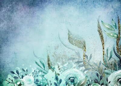 Fototapeta Watercolor floral background, blue and gold