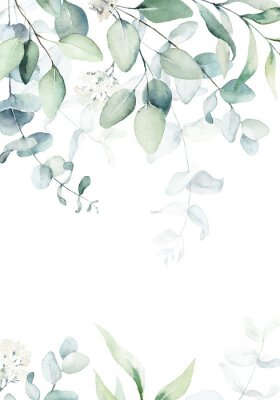 Fototapeta Watercolor floral illustration with green branches & leaves - frame / border, for wedding stationary, greetings, wallpapers, fashion, background. Eucalyptus, olive, green leaves, etc.