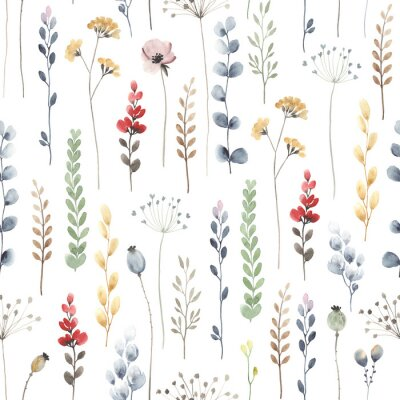 Fototapeta Watercolor floral seamless pattern with colorful wildflowers, leaves and plants. Illustration on white background in vintage style.