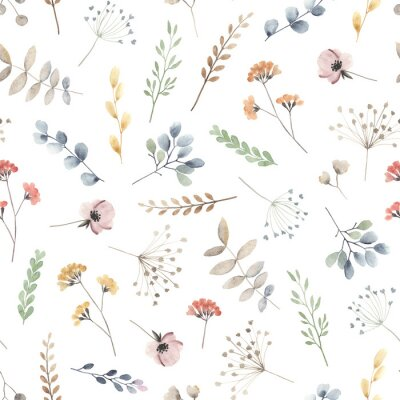 Fototapeta Watercolor floral seamless pattern with scattered wildflowers, leaves and plants. Summer illustration in vintage style on white background.