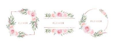 Fototapeta Watercolor flower frame Rose Eucalyptus. Template wedding invitation card. Rose metallic frame.