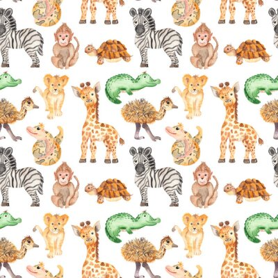 Fototapeta Watercolor pattern with cute cartoon animals of Africa. Texture for wallpaper, packaging, scrapbooking, textiles, fabrics, children's clothing and design.