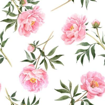 Fototapeta Watercolor peony seamless vector pattern