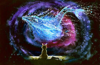 Fototapeta Watercolor picture of a cat and whale constellation