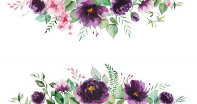 Fototapeta Watercolor purple flowers and green leaves border illustration