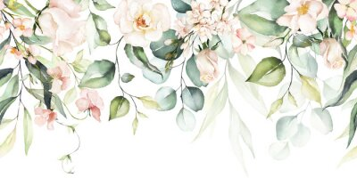 Fototapeta Watercolor seamless border - illustration with bright pink vivid flowers, green leaves, for wedding stationary, greetings, wallpapers, fashion, backgrounds, textures, DIY, wrappers, cards.