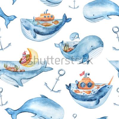 Fototapeta Watercolor seamless pattern with sea life. Wallpaper, textile pattern for kids.