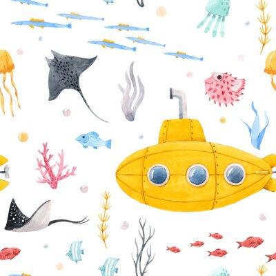 Fototapeta Watercolor underwater submarine pattern