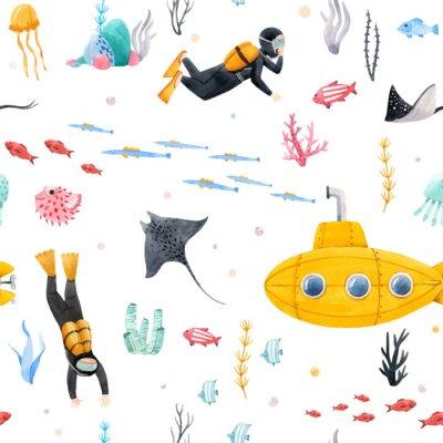 Fototapeta Watercolor underwater submarine vector pattern