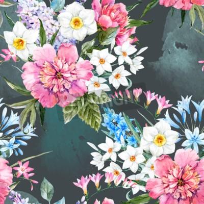 Fototapeta Watercolor vector floral pattern