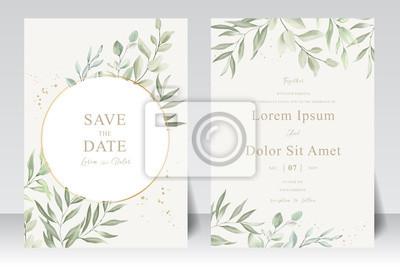 Fototapeta Watercolor Wedding Invitation template card With Beautiful Foliage