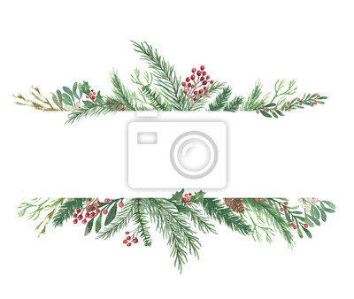 Fototapeta Watercolor Winter Christmas bouquet with foliage, flowers, and berries