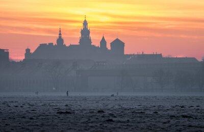 Fototapeta Wawel w Krakowie widziany z łąki Błoniach rano