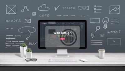 Fototapeta Web design concept with computer display, web theme and drawings of website, app parts. Modern design web page on computer display. Office, studio work desk.