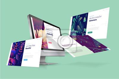 Fototapeta Web design template. Vector illustration concept of website design and development, app development, seo, business presentation, marketing.