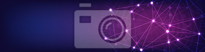 Fototapeta Website header or banner design with abstract geometric background and connecting dots and lines. Global network connection. Digital technology with plexus background and space for your text.