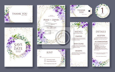 Wedding Invitation Card Save The Date Thank You Rsvp Template Fototapety Redro