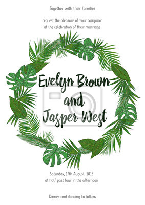 Wedding Invitation Floral Invite Card Design With Green Tropical Fototapety Redro