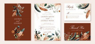 Fototapeta wedding invitation set with rustic feather and foliage watercolor