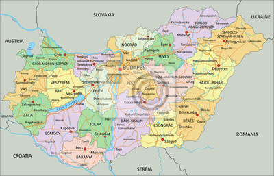 Fototapeta Wegry Bardzo Szczegolowe Edycji Polityczna Mapa