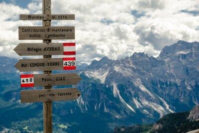 Fototapeta Wegweiser w Dolomiten, Italien, Höhenweg 1, Alta Przez 1