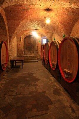 Fototapeta Weinkeller, Rotwein, arrique Faß ausgebaut, Toskana, Italien