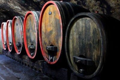Fototapeta Weinkeller, Rotwein im Barrique Faß ausgebaut, Eichenfässer
