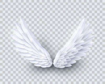 Fototapeta Wektor 3d biały realistyczny papier warstwowy wyciąć skrzydła anioła na przezroczystym tle