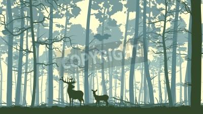 Fototapeta Wektor abstrakcyjna ilustracji dzikich jeleni w lesie z pni drzew.