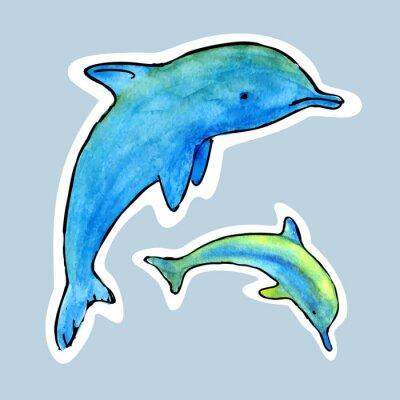 Fototapeta Wektor Akwarela Dolphin