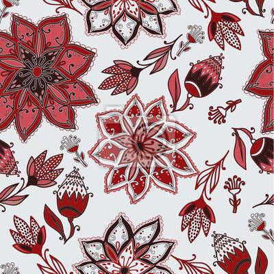 Fototapeta Wektor bez szwu doodle kwiatowy wzór z kwiatów i ptaków