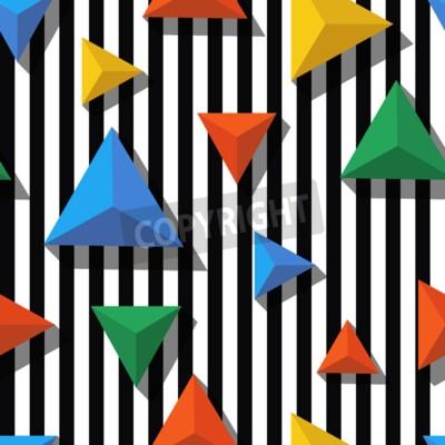 Fototapeta Wektor bez szwu geometryczny wzór. Płaski styl wielobarwnej piramidy i czarne, białe paski tle. Trendy koncepcji projektowania mody druk tekstylny.