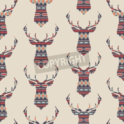 Fototapeta Wektor bez szwu kolorowe dekoracyjny wzór z jelenia etniczna