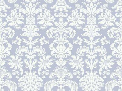 Fototapeta Wektor bez szwu kwiatowy wzór adamaszku światło niebieskie i białe