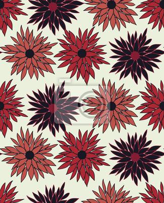Fototapeta Wektor bez szwu kwiatowy wzór z chryzantemy