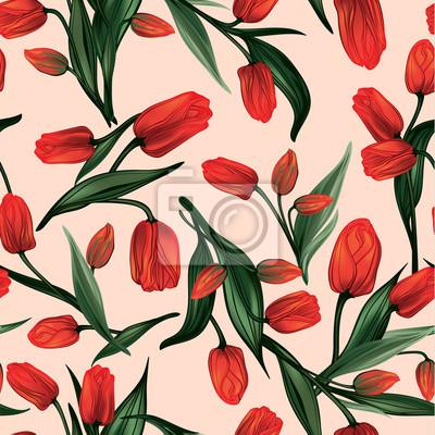 Wektor bez szwu kwiatowy wzór z czerwonych tulipanów