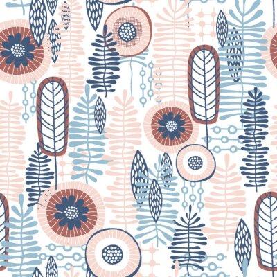 Fototapeta Wektor bez szwu kwiatowy wzór z niebieskim i różowy koralowych odcieni kolorów, które mogą być używane do tapet, tła, obrazów tła, wzorów tkanin, odbitek odzieżowych, etykiet, rzemiosła i innych