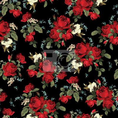 Wektor bez szwu kwiatowy wzór z róż na czarnym tle