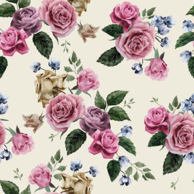 Wektor bez szwu kwiatowy wzór z róż na jasnym tle