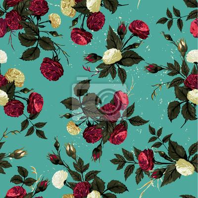 Fototapeta Wektor bez szwu kwiatowy wzór z różami