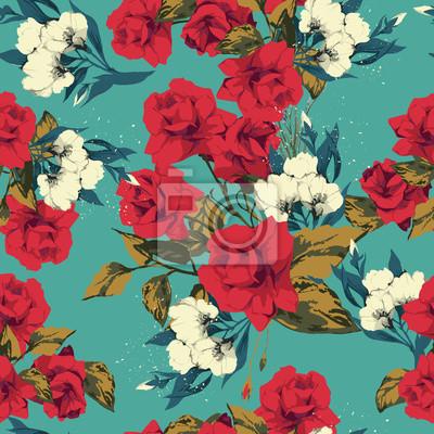 Fototapeta Wektor bez szwu kwiatowy wzór z różami, akwarela
