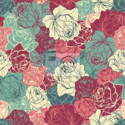 Wektor bez szwu kwiatowy wzór z różami konspektu