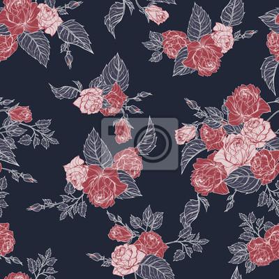Fototapeta Wektor bez szwu kwiatu deseń z róż na ciemnym tle