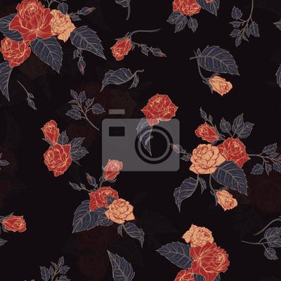 Fototapeta Wektor bez szwu kwiatu deseń z róż na czarnym tle