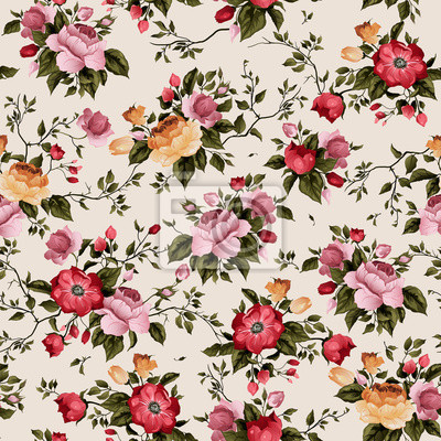 Wektor bez szwu kwiatu deseń z róż na jasnym tle