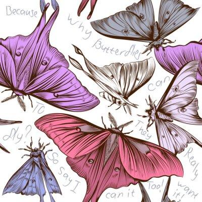 Fototapeta Wektor bez szwu tapety wzór z motyli Des wirowych