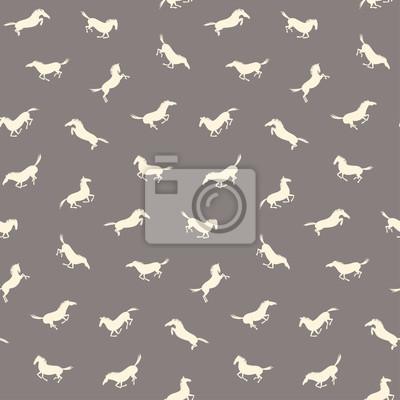Fototapeta Wektor bez szwu z aktywnych koni. Jazda wzorzec kolor ciemnoszary i białawy kolor.