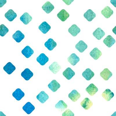 Fototapeta Wektor bez szwu. Zielony i niebieski akwarela wyciągnąć romby.